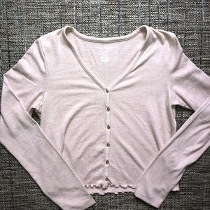 American eagle plush button front top medium